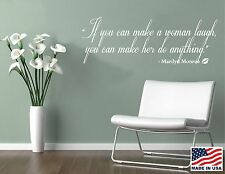Vinyl Wall Decal Art Saying Decor Quote If you make a woman laugh Marilyn Monroe