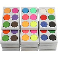 Watercolour Paint Block in Palette - Neon Primary Complementing - Children Craft