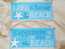 NOVELTY BEACH SIGN BLUE & WHITE METAL HANGING SIGN VINTAGE STYLE 2 SAYINGS