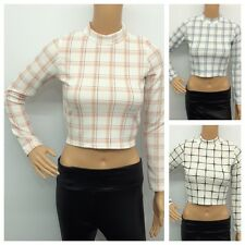 WOMENS LADIES LONG SLEEVE STRETCH TURTLE NECK TARTAN CHECK PRINT SHORT CROP TOP