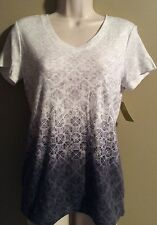 "Women's ""Made For Life"" Activewear top  shirt White/Gray  NWT Size S"