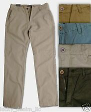 NEW MENS BRUSHED TWILL CHINO PANTS FLAT FRONT SLIM FIT DENIM BLUE, KHAKI, BLACK