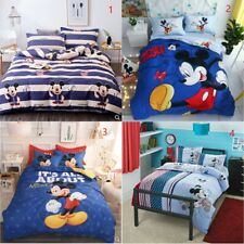 Disney Mickey Mouse Minnie 100% Cotton Sheet Duvet Cover Bed Sets Full Queen