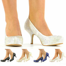 NEW BEAUTIFUL DIAMANTE KITTEN HEEL BRIDAL WEDDING SATIN SHOES, FAST UK DELIVERY