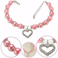 Dog Necklace Crystal Heart Jewelry Pearls Necklace Dog Pet Collar Charm Pendant