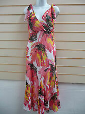 KALEIDOSCOPE MULTI PRINT MAXI PARTY DRESS  POLYESTER SIZE 10 &12 CLEARANCE