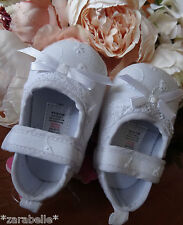 Baby Girls WHITE or PINK Broderie Anglaise Pram Shoes,Christening,0-6,6-12,12-18