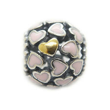Abundance Of Love Pink Enamel W 14k Gold sterling silver charm Mother's day Gift
