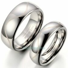 Polished Dome Laser Engraved Tungsten Carbide Ring 8mm His&6mm Hers Wedding Band