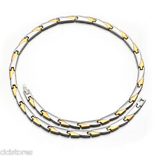 Mens Womens Titanium Power Energy Magnetic Health Choker Chain Necklace Gold N2