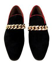 Men's New Fiesso Black Suede Slip on Shoes with Gold Chain Diamond Studs FI 6788