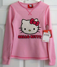 AUTHENIC HELLO KITTY PINK THERMAL SHIRT LONG SLEEVES NICE APPLIQUE ON FRONT