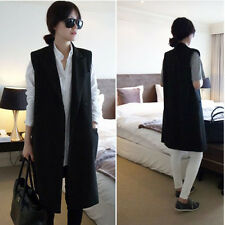 Women Boyfriend Style Sleeveless Waistcoat Long Coat Jacket Suit Blazer Cardigan