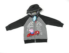 Peppa George Pig Boys Grey Race Racing Car Hoodie Hoody 12 Months - 6 Years