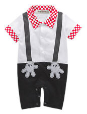 Baby Boy Faux Suspender Mickey Mouse Photo Prop Romper Onesie Outfit, NEW