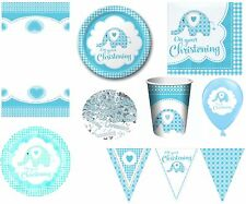 BOYS BLUE CHRISTENING PARTY TABLEWARE DECORATIONS BALLOONS SWEET BABY ELEPHANT
