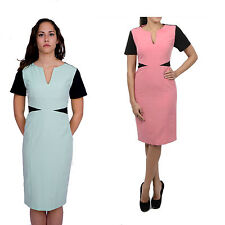EX BRANDED MARKS AND SPENCER BODYCON HALF SLEEVE PANEL DRESS IN PINK & BLACK