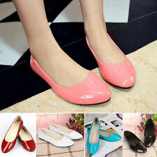 Women's Patent Flat Pumps Ballerina Slip On Dolly Ballet Shoes Casual Shoes