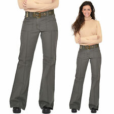 New Ladies Womens Army Green Khaki Belted Fitted Pants Wide Leg Cotton Trousers