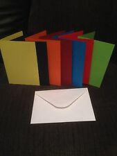 "CARD BLANKS PRE SCORED 4"" x 4"" U CHOOSE COLOUR AND QUANTITY WITH WHITE ENVELOPES"