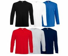 Mens Fruit of the Loom ValueWeight  Long Sleeve  Cotton T Shirt Top  Pack of 3