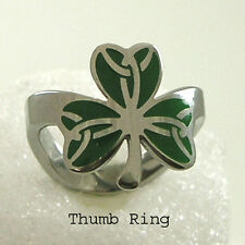 Shamrock Thumb Ring Irish Stainless Steel Silver Green Size 9-11