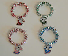 MEMORY WIRE LANTERN BEAD BRACELET WITH SILVER PLATED SPACERS WITH RABBIT CHARM
