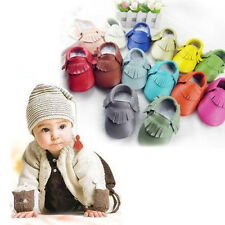 Soft Baby Infant Boy Girl Tassel Sole Leather Shoes Toddler Moccasin 0-24 Months