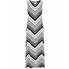 EX DOROTHY PERKINS V STRIPES SLEEVELESS SIDE SLITS VISCOSE SUMMER MAXI DRESS