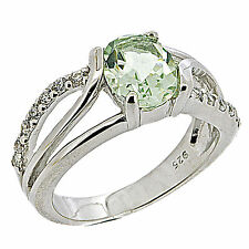 925 Sterling Silver 1.7 ct Natural Green Amethyst & White CZ Ring