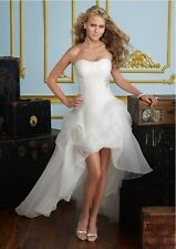 New A-Line White/Ivory Front Short Long Back Wedding Dress Bridal Gown Stock