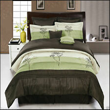 8pc Luxury Portland Comforter Set Sage Brown with Bed Skirt Cushions & Shams