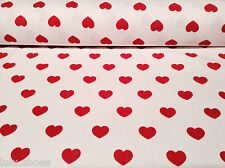 "HEARTS 100% Cotton Poplin Fabric Material print -55""/140cm wide- WHITE Red heart"