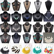 Fashion Womens Crystal Statement Bib Chain Choker Necklace Earrings Set Jewelry