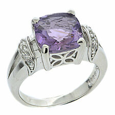 925 Sterling Silver 2.80Ct Natural Purple Amethyst & White CZ Ring