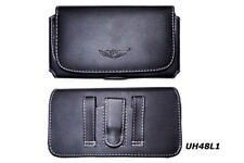 New Horizontal Black Leather Belt Clip Holster Pouch Case for Large Cell Phones
