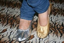 Belly Dance Shoes Leather Ballerina Ballet Flat Sandal Slippers Gold & Silver