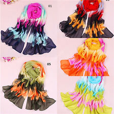 Women Ladies Chiffon Multicolor Long Soft Neck Scarf Shawl Wrap Scarves Stole 74