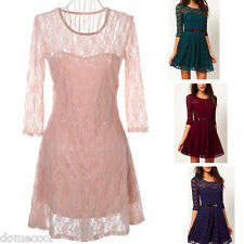 Ladies Womens New Sexy Lace Top and Trim Contrast Skater Dress Half Sleeve Scoop