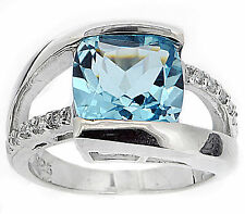 925 Sterling Silver 3.0 Ct Natural Sky Blue Topaz & CZ Ring