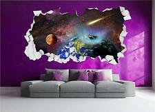 Earth Space Planets Stars Brick Crack Wall 3D Wall Art Sticker Decal Transfer