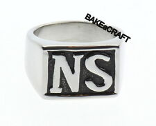 NS Letter Biker Motorcycle Ring - Font 2 - Part of Sons Ring