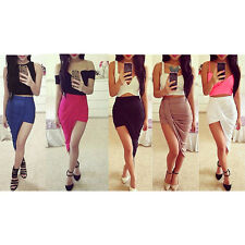 Trends High Waisted Draped Asymmetric Stretch Low Mini Maxi Skirt 5 Colours