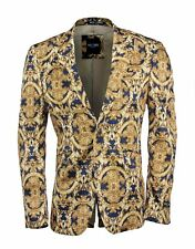 Mens Yellow Blue Printed Italian Designer Suit Jacket Fitted Blazer