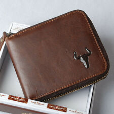 Mens Genuine Leather Zip Around Cowhide Bifold Wallet Purse with Coin Pocket