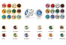 SURGICAL STAINLESS STEEL BIRTHSTONE EAR PIERCING STUD EARRINGS