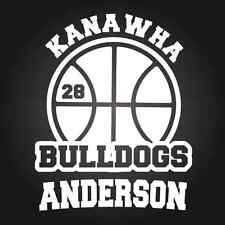 Personalized Basketball Sports Window Decal Sticker Custom School Name Number