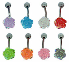 1pc Surgical Steel Acrylic Rose Flower Belly Button Navel Bar Ring Body Piercing