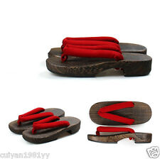 New Japanese clogs women with flat sandals slippers Casual Slippers red