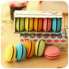 Cute Cookie Biscuit Eraser Rubber Stationery Kawaii Macarons Gift (5 Pack)